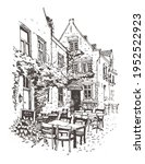 Travel Sketch Of Street Cafe In ...