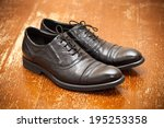 classic leather shoes in black | Shutterstock . vector #195253358