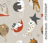 seamless childish pattern with... | Shutterstock .eps vector #1952560669
