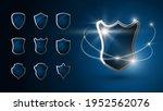 set of realistic 3d shields.... | Shutterstock .eps vector #1952562076