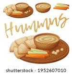 homemade organic hummus with... | Shutterstock .eps vector #1952607010