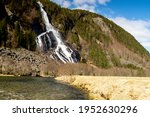 Vidfoss, 48th highest waterfall in Norway. Located in Hildal in Ullensvang municipality in Vestland, Norway.
