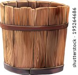 Wooden Bucket On White...