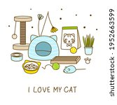 group of cute cat items... | Shutterstock .eps vector #1952663599