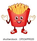 french fries mascot cartoon in... | Shutterstock .eps vector #1952699020