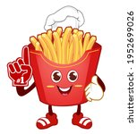 french fries mascot cartoon in... | Shutterstock .eps vector #1952699026