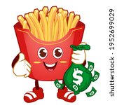 french fries mascot cartoon in... | Shutterstock .eps vector #1952699029
