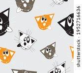 crazy wild cats seamless... | Shutterstock .eps vector #1952716636