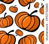 doodle art pumpkin on white... | Shutterstock .eps vector #1952732860