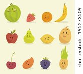 funny cartoon fruits vector... | Shutterstock .eps vector #195273509