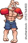 strong angry boxing pig... | Shutterstock .eps vector #1952766403