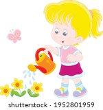 happy little girl watering... | Shutterstock .eps vector #1952801959