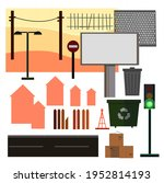 city environment set. urban... | Shutterstock .eps vector #1952814193