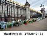 Small photo of London, United Kingdom - 04.09.2021 : Buckingham Palace, Prince Philip's death, floral tributes