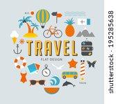 travel flat design elements | Shutterstock .eps vector #195285638