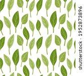hand drawn doodle leaf pattern. ... | Shutterstock .eps vector #1952873896