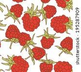 ripe raspberry seamless pettern ... | Shutterstock .eps vector #195287909