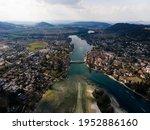 Aerial panorama view of Stein am Rhein historic old town city in Schaffhausen at Rhine river in Switzerland, Europe