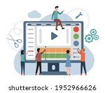 people making and editing video ... | Shutterstock .eps vector #1952966626