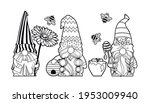 set gnomes with honey and bees  ... | Shutterstock .eps vector #1953009940