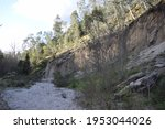 Walls Of A Sandy Canyon In...