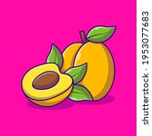 vector fresh apricot fruit icon.... | Shutterstock .eps vector #1953077683