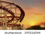 roller coaster loops in the... | Shutterstock . vector #195316544