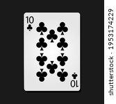 10 clubs poker card in dark...   Shutterstock .eps vector #1953174229