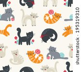 Stock vector seamless pattern with cute cats 195319310