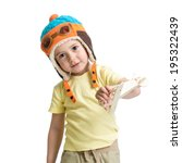Happy Child Dressed Pilot And...