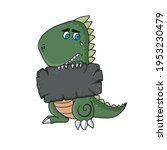 funny dinosaur is bored and... | Shutterstock .eps vector #1953230479