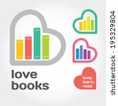 sign with books and hearts... | Shutterstock .eps vector #195329804