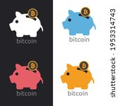 saving piggy bank with bitcoin  ... | Shutterstock . vector #1953314743