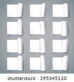 set of twelve curved corners on ... | Shutterstock .eps vector #195345110