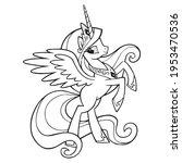cute cartoon unicorns coloring... | Shutterstock .eps vector #1953470536