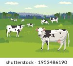 landscape with pasturing cows ... | Shutterstock .eps vector #1953486190