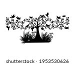 Tree With Birds Icon Vector...
