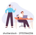 angry boss. office manager yell ... | Shutterstock .eps vector #1953566206