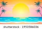 sunset on summer beach... | Shutterstock .eps vector #1953586036