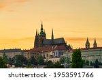Prague Castle At Sunset In...