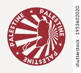 palestine stamp. travel red... | Shutterstock .eps vector #1953602020