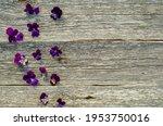 Violet Flowers On Grey Wooden...