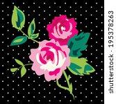 Pretty Rose Cluster On Dot Print