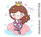 mermaid princess cartoon... | Shutterstock .eps vector #1953797656