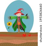Cute Scarecrow With Red And...