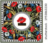 design scarf with geraniums and ... | Shutterstock .eps vector #1953863230