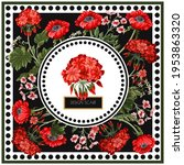 design scarf with geraniums and ... | Shutterstock .eps vector #1953863320