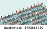 people sit on chairs apart one...   Shutterstock .eps vector #1953865330