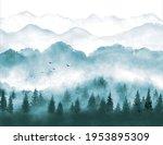 landscape with misty green...   Shutterstock .eps vector #1953895309