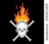 burning skull with bones pixel... | Shutterstock .eps vector #1953911659